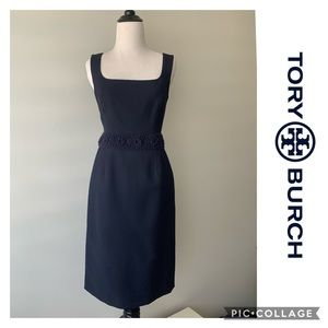 TORY BURCH Dress MIDI Navy Blue Size 2